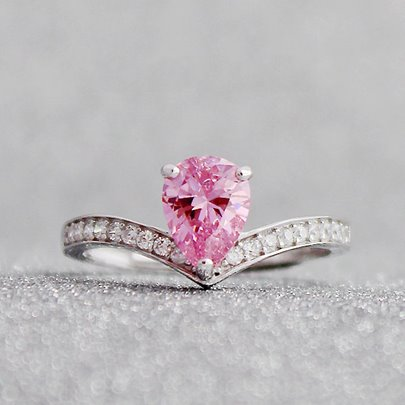 V-Shaped Tear Pink Gemstone Opening Ring