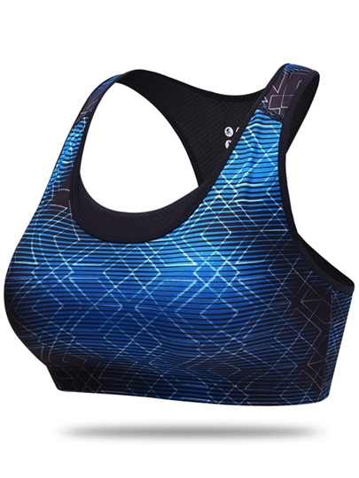Square Printed Push-Up Y-Back Women Sports Bra (Plus Size Available)
