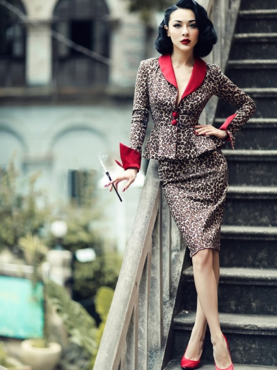 Long Sleeve Lapel Leopard Grain Women's Skirt Suit