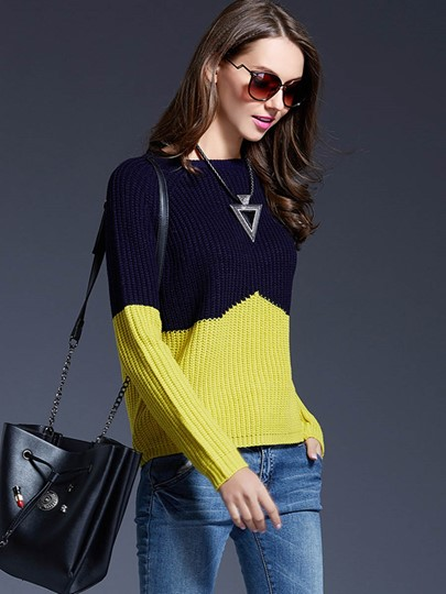 Color Block Chic Loose Women's Sweater