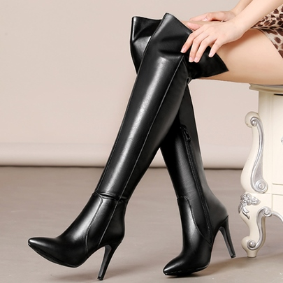 Pointed Toe Side Zipper Over-the-Knee Women's Boots
