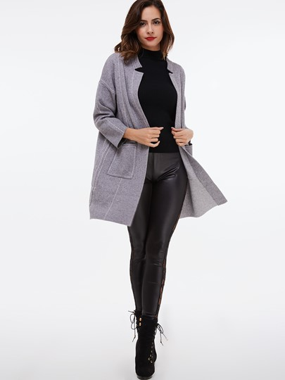 Solid Color Straight Double Pocket Nine Points Sleeve Women's Cardigan
