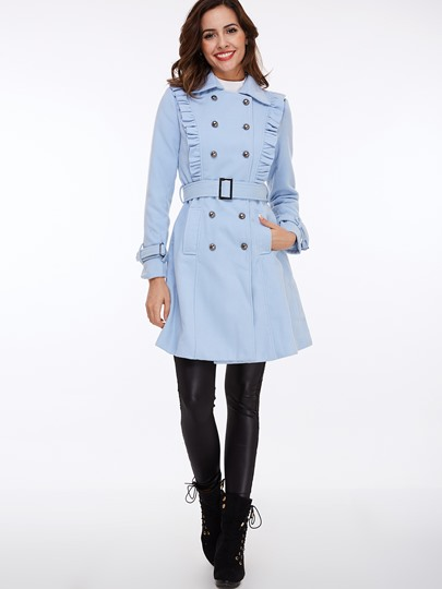 Blue Ruched Double-Breasted Women's Overcoat