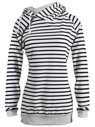 Casual Hooded Striped Sweatshirt