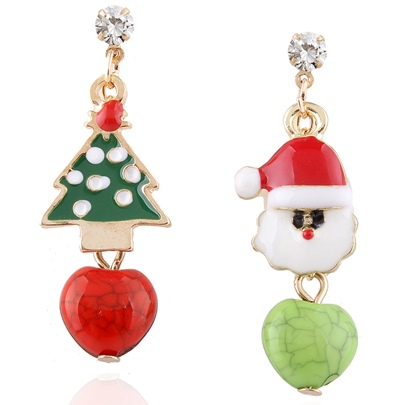 Christmas Tree & Santa Claus Asymmetric Earrings