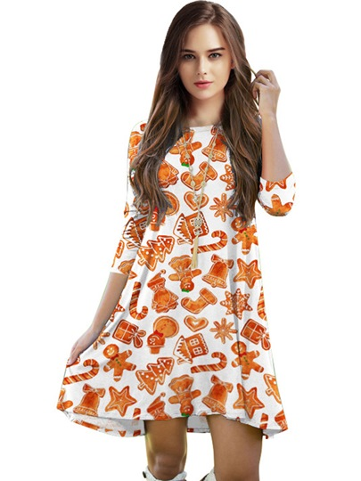 Christmas Orange Half Sleeve Women's Day Dress