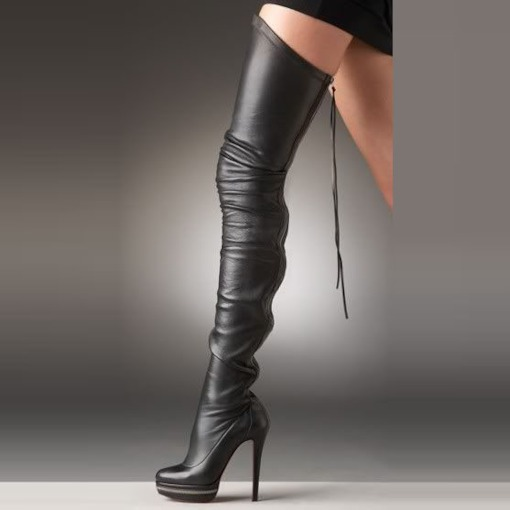 Stiletto Heel Black Knee High Women Otk Boots