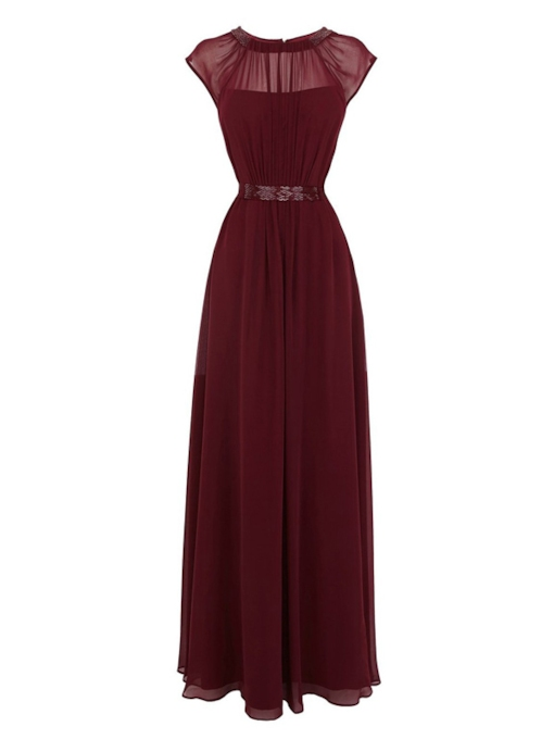 A-Line Jewel Pleats Sashes Evening Dress