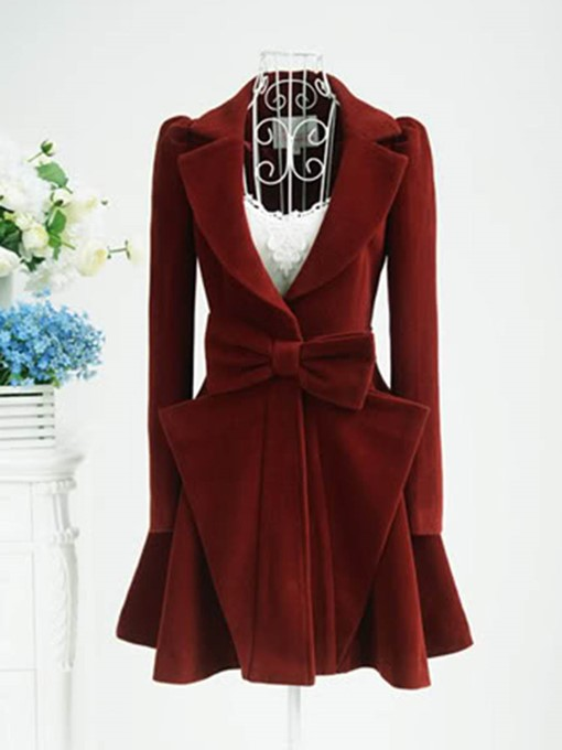 Bow Knot V-Neck Lapel Long Sleeve Women's Overcoat