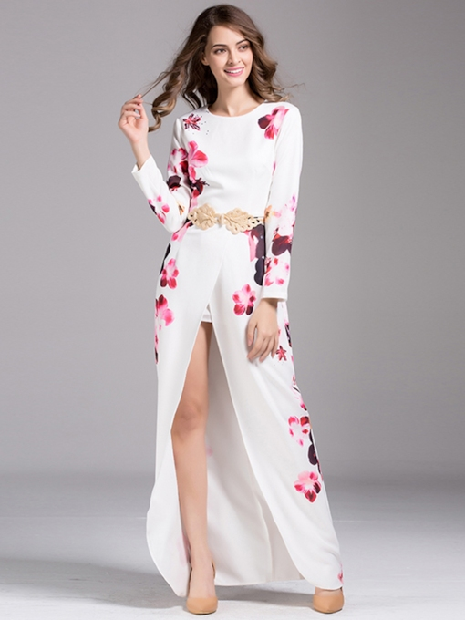 Top Quality Floral Print Long Sleeve Women's Maxi Dress