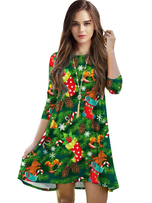 Christmas Green Half Sleeve Women's Day Dress