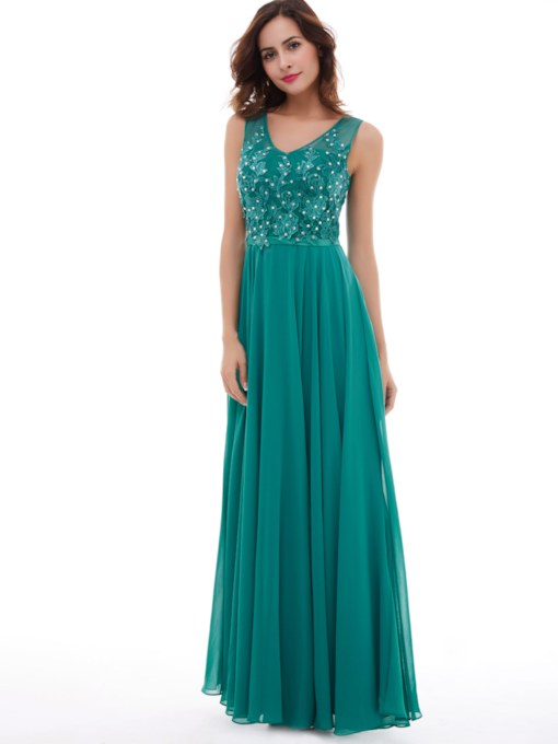 A-Line Lace Beaded Chiffon Prom Dress