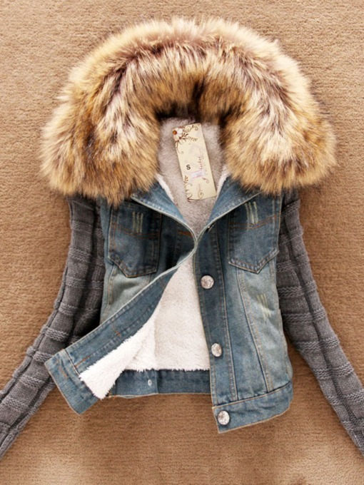 Faux Fur Hooded Color Block Winter Denim Women's Jacket