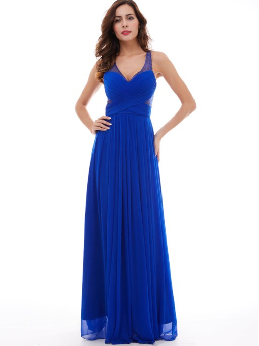 Criss-Cross A-Line V-Neck Floor-Length Evening Dress