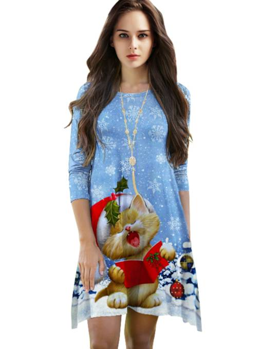 Blue Christmas Half Sleeve Women's Day Dress
