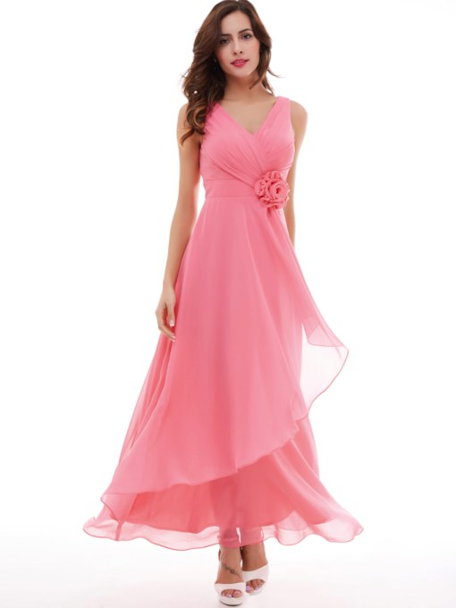 bceccc68319 V-Neck A-Line Pleated Chiffon Flower Long Evening Dress