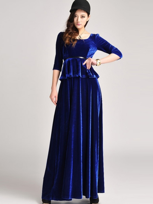 Blue Velvet Double-Layered Women's Maxi Dress
