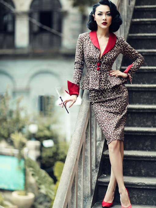 Long Sleeve Lapel Leopard Grain Women's Suit