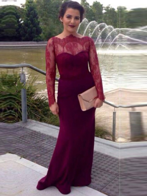 Sheath Off-the-Shoulder Long Sleeves Button Lace Court Train Evening Dress