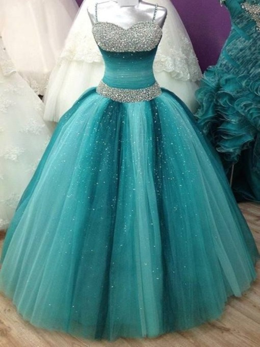 Spaghetti Straps Ball Gown Beading Floor-Length Quinceanera Dress