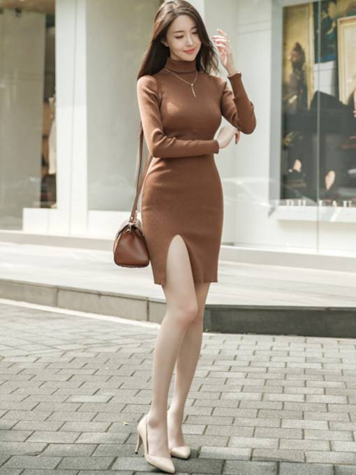 Plain Turtleneck Women's Sweater Dress