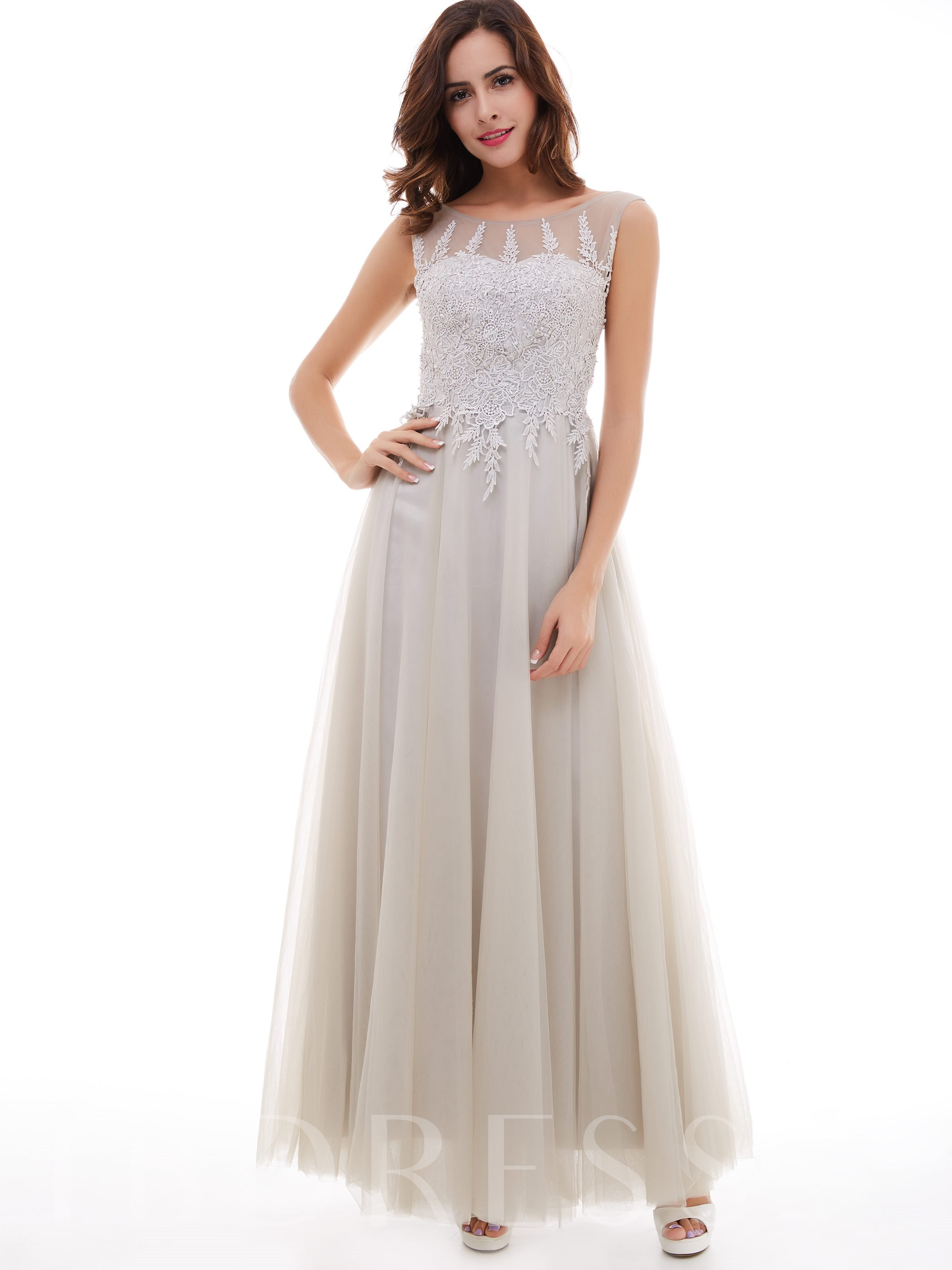 Image of A-Line Scoop Appliques Ankle-Length Evening Dress