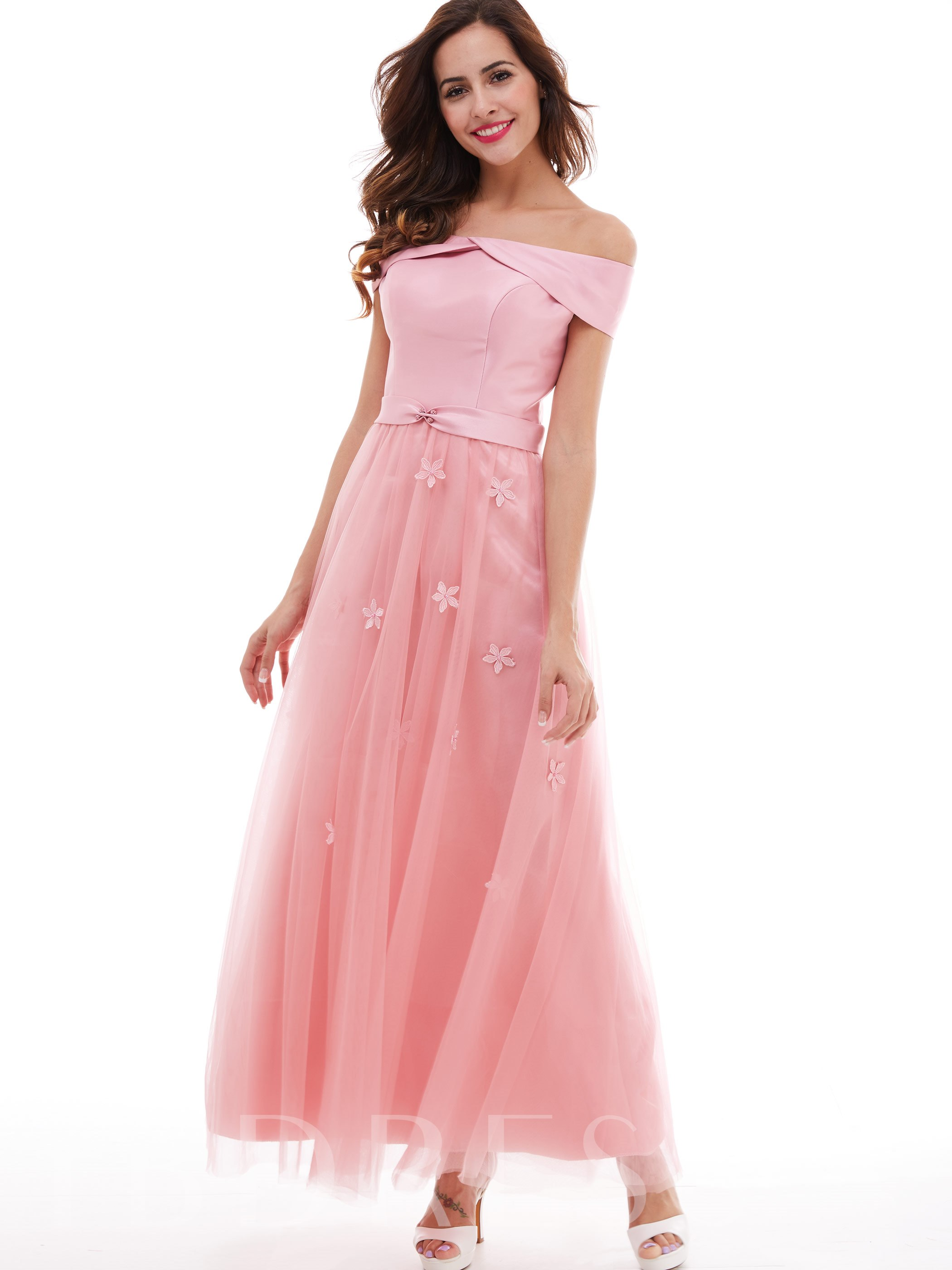 Image of A-Line Lace-Up Flowers Long Evening Dress