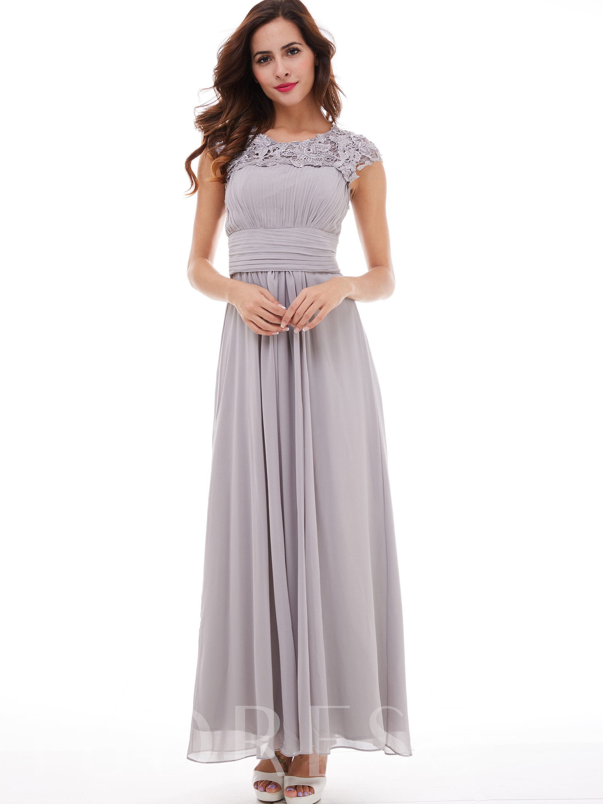 Image of A-Line Scoop Cap Sleeves Pleats Appliques Long Evening Dress