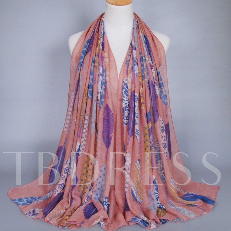 Colorful Feather Printed Cotton Women's Scarf