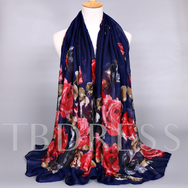 Voile Big Flowers Printed Women's Scarf