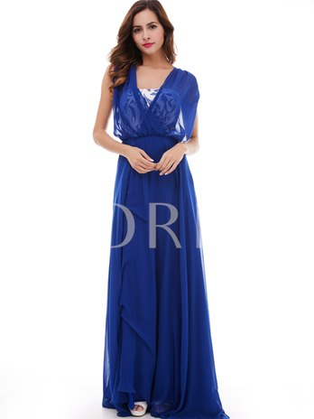 A-Line Lace V-Neck Cap Sleeves Long Evening Dress