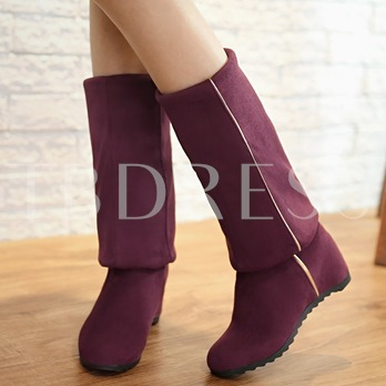 Over the Knee Slip On Suede Plain Wedge Heel Boots