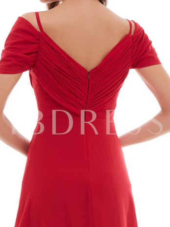 A-Line Open Shoulder Draped Pleats Beading Long Evening Dress