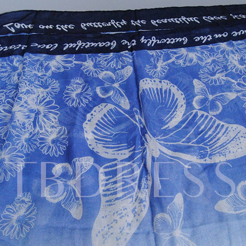 Blue Butterfly Printed Voile Women's Scarf