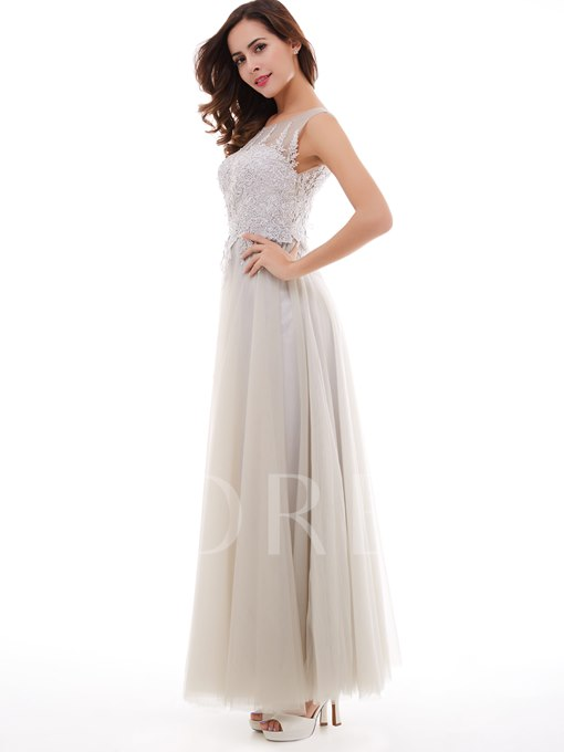 A-Line Scoop Appliques Ankle-Length Evening Dress