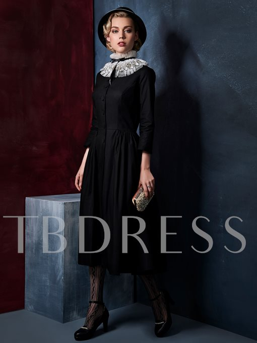 Stand Collar Single-Breasted Vintage Women's Day Dress