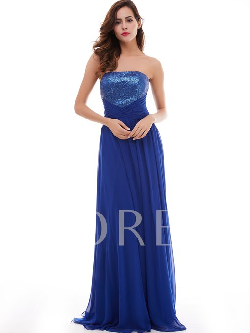 A-Line Strapless Draped Pleats Sequins Long Prom Dress