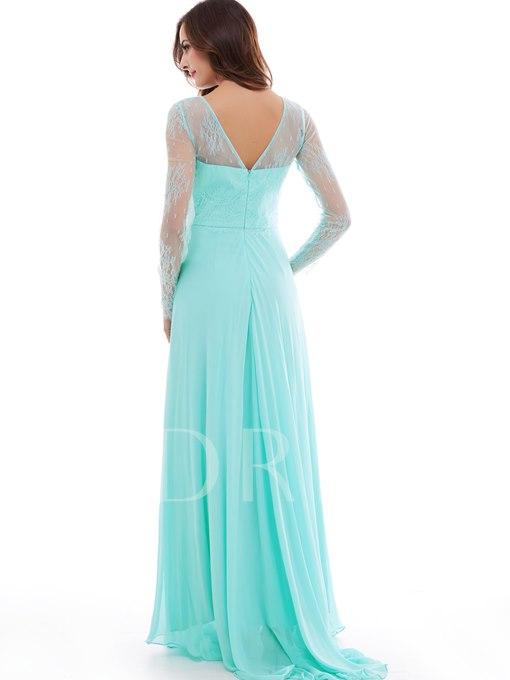 A-Line Bateau Lace Floor-Length Evening Dress