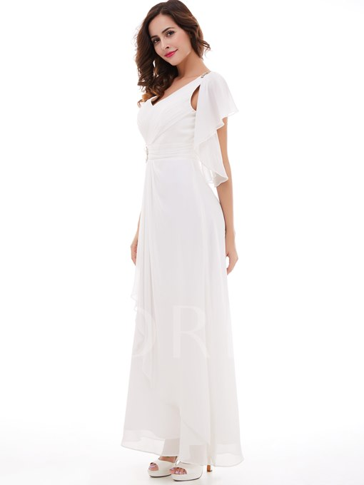Beading V-Neck Pleated Chiffon Long Evening Dress