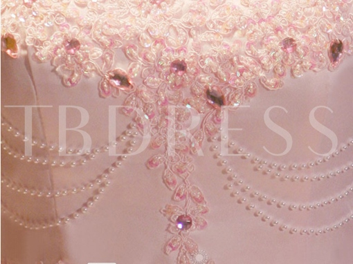 A-Line Spaghetti Straps Appliques Beading Pearls Floor-Length Prom Dress