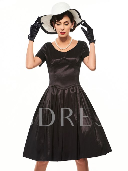 Pleated Plain Vintage Women's Day Dress