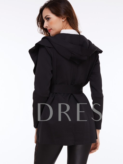 Pure Color Hooded Long Cotton Women's Trench Coat