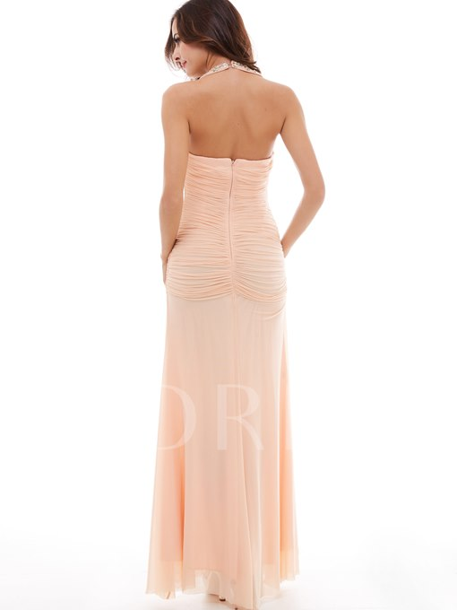 Halter Pleated Chiffon Column Evening Dress