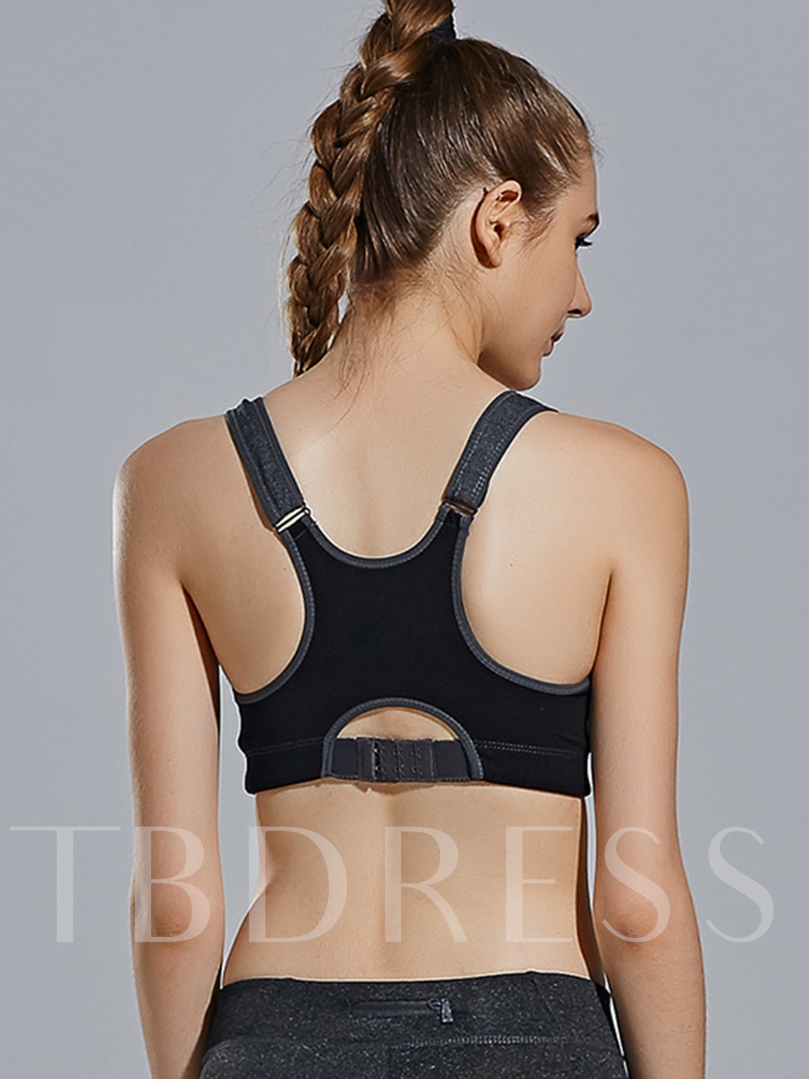 Spandex Front-Zip Key Hole Back Women Sports Bra