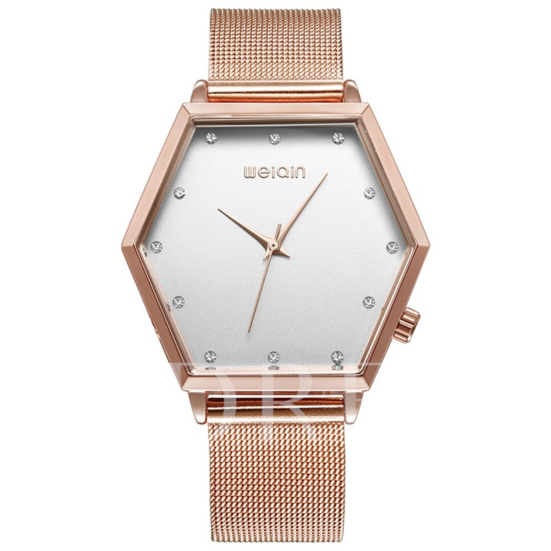 Hexagon Dial Diamante Women's Watch