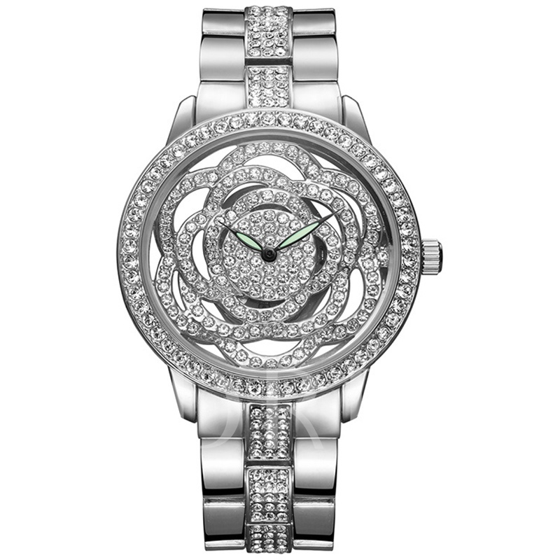 Full Rhinestone Flower Dial Women's Watch