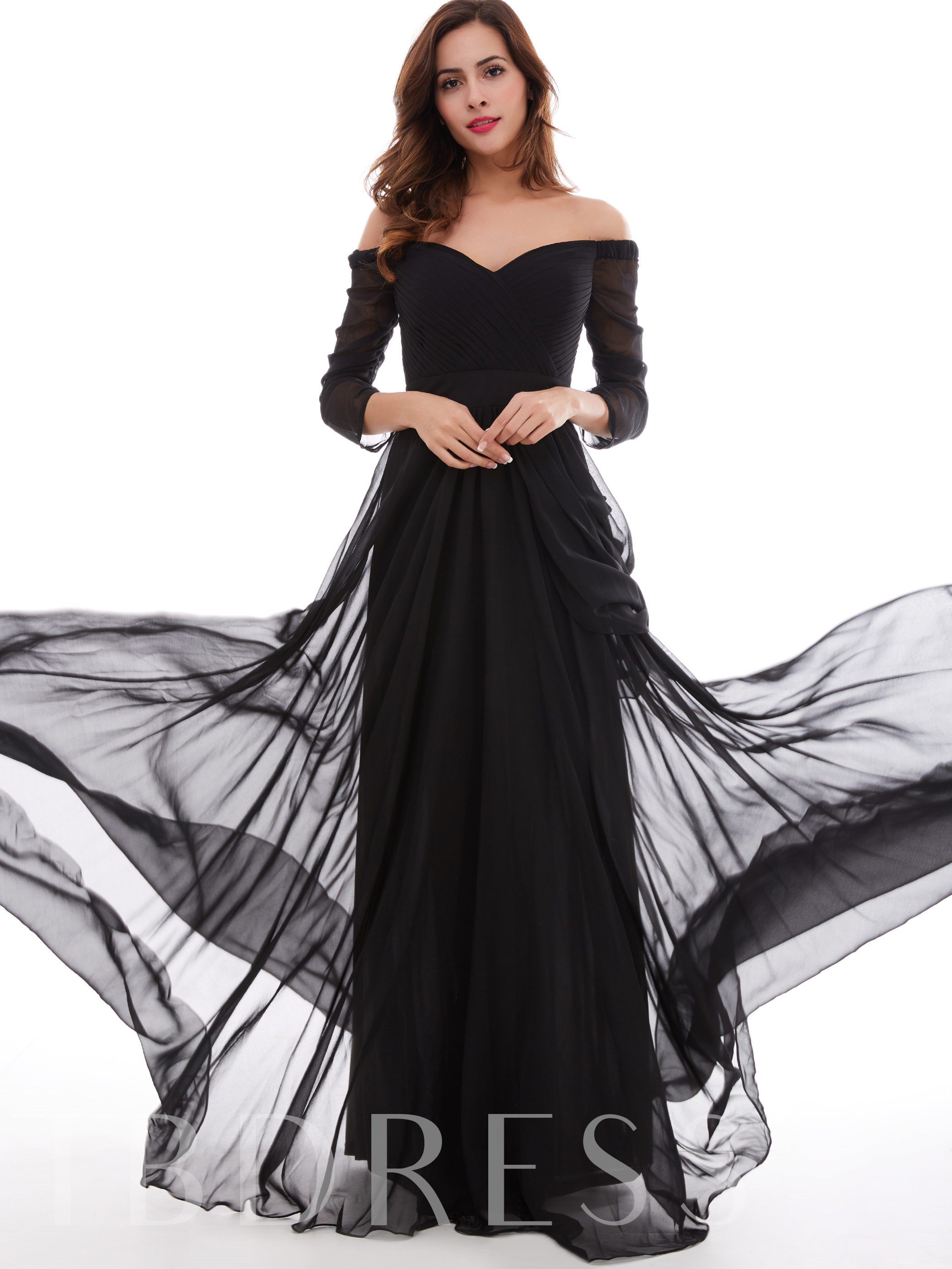 Buy A-Line Off-the-Shoulder Pleats Ruched Evening Dress, Tanpell, Spring,Fall,Winter, 12248868 for $33.06 in TBDress store