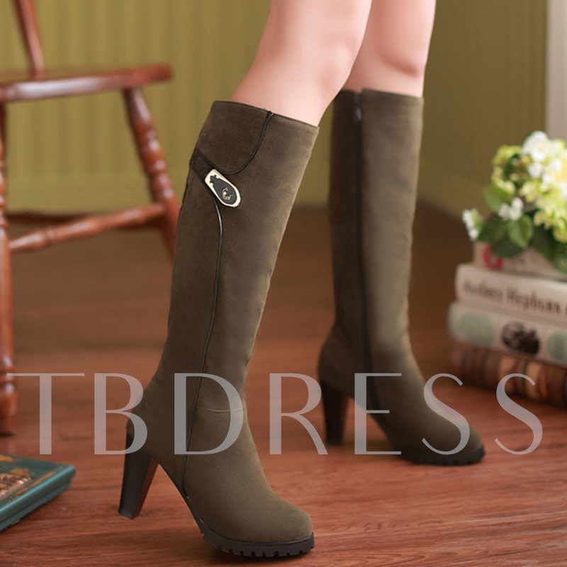 Round Toe Side Zipper Knee-High Sequins Women's Boots