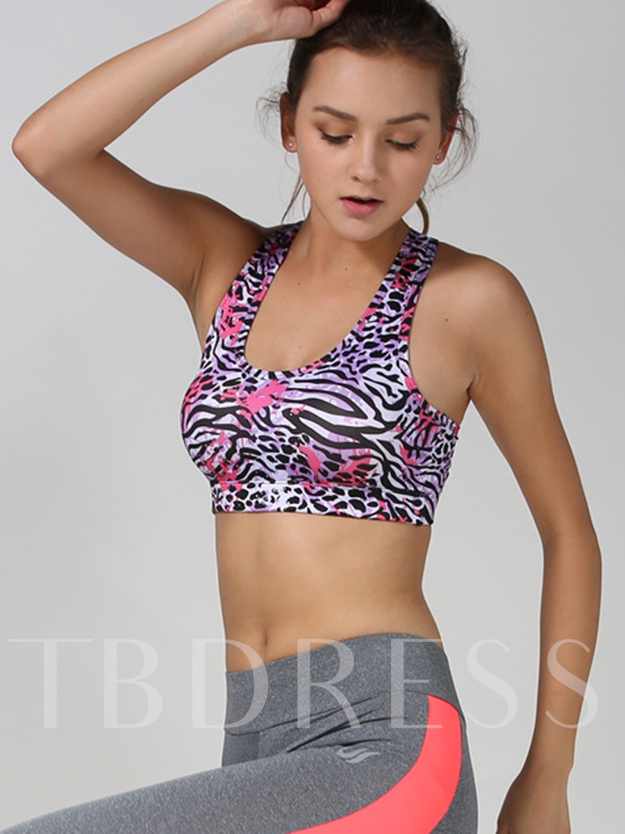 Polyester Square Printed Y-Back Women Sports Bra
