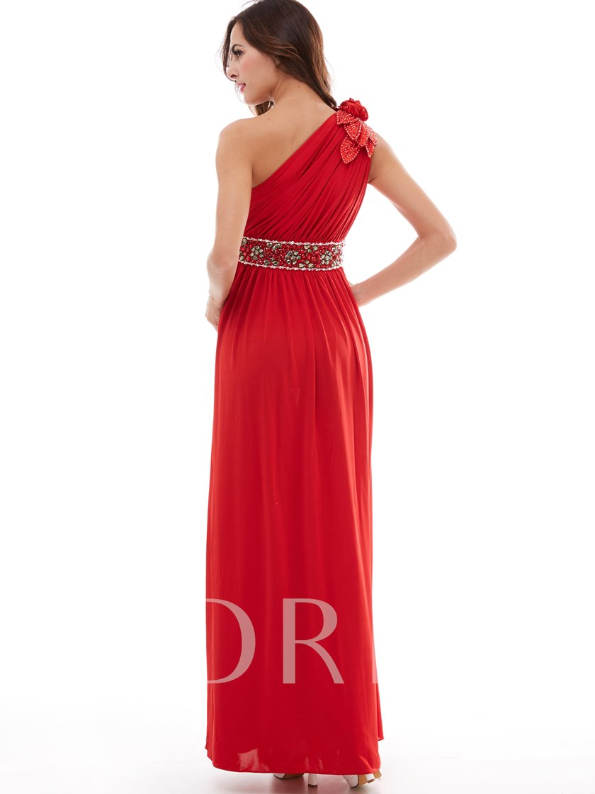 008373768380 One-Shoulder Pleated Chiffon Beading A-Line Evening Dress - Tbdress.com